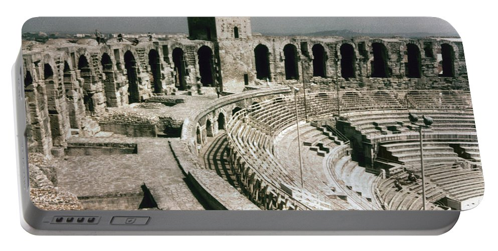 1st Century Portable Battery Charger featuring the photograph Roman Amphitheatre, Arles by Granger