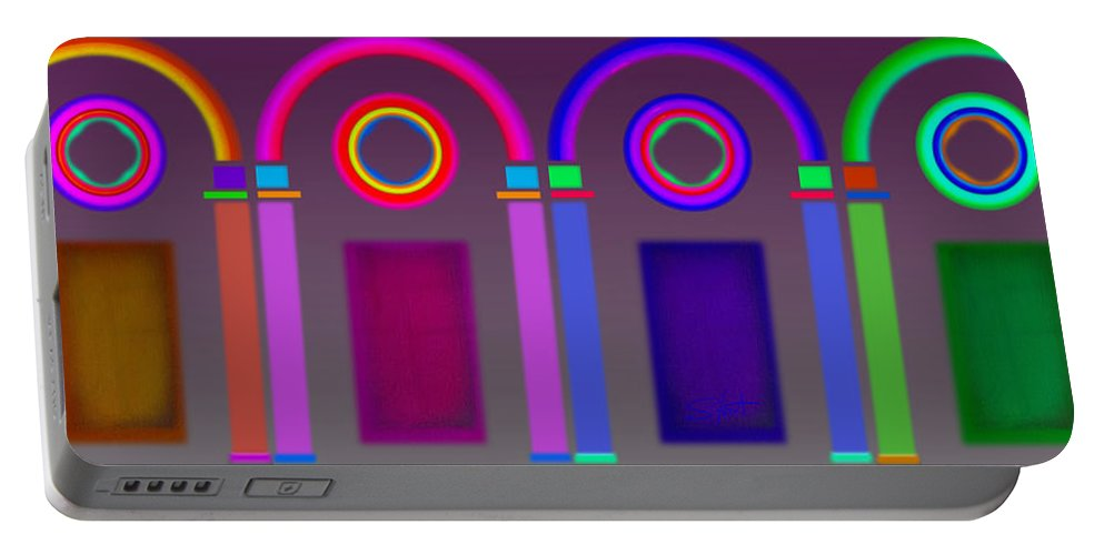 Classical Portable Battery Charger featuring the digital art Roman Arches by Charles Stuart