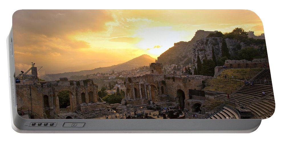 Roman Theater Portable Battery Charger featuring the photograph Roman Theater In Taormina IIi by Madeline Ellis