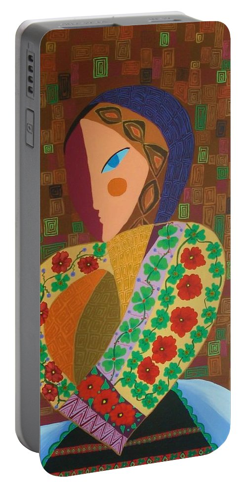 Blouse Portable Battery Charger featuring the painting La Blouse Roumaine by Mimi Revencu