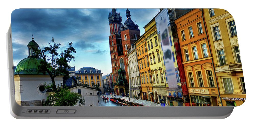 Krakow Rynek Portable Battery Charger featuring the photograph Romance In Krakow by Kasia Bitner