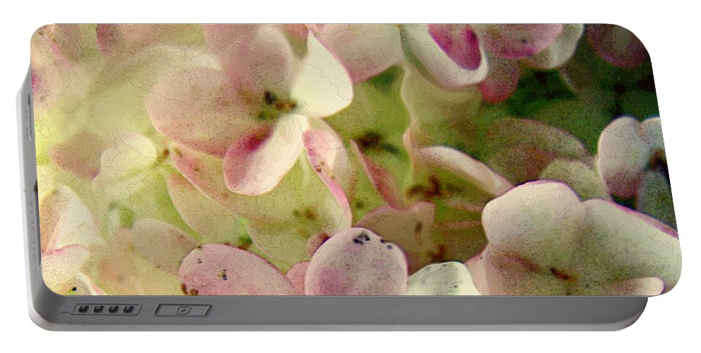 Floral Portable Battery Charger featuring the digital art Romance In Pink And Green by RC DeWinter