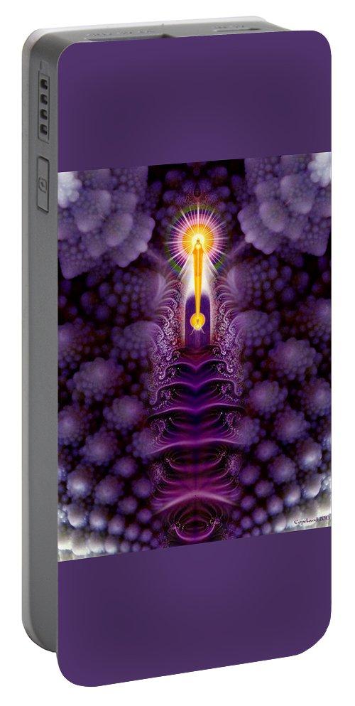 Digital Artwork Portable Battery Charger featuring the digital art Romanesco Fractal I Am Presence by Richard Copeland