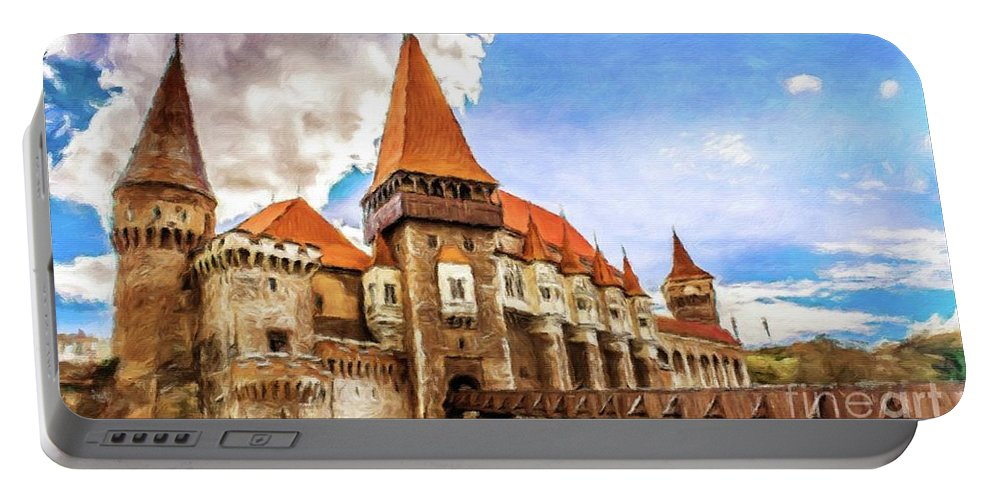 Landscape Portable Battery Charger featuring the painting Romantic Castle By Sarah Kirk by Sarah Kirk