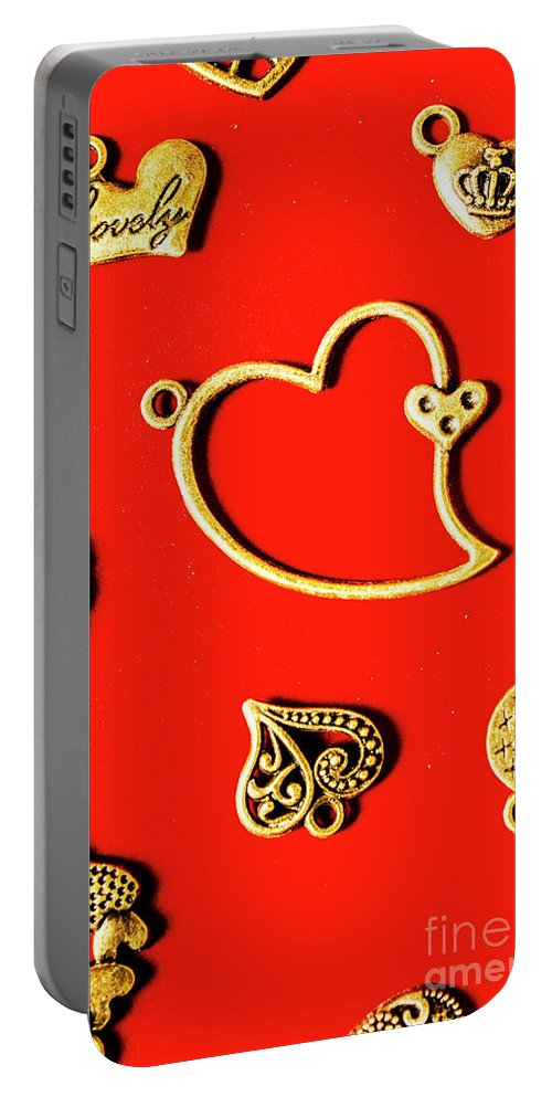 Love Portable Battery Charger featuring the photograph Romantic Heart Decorations by Jorgo Photography - Wall Art Gallery