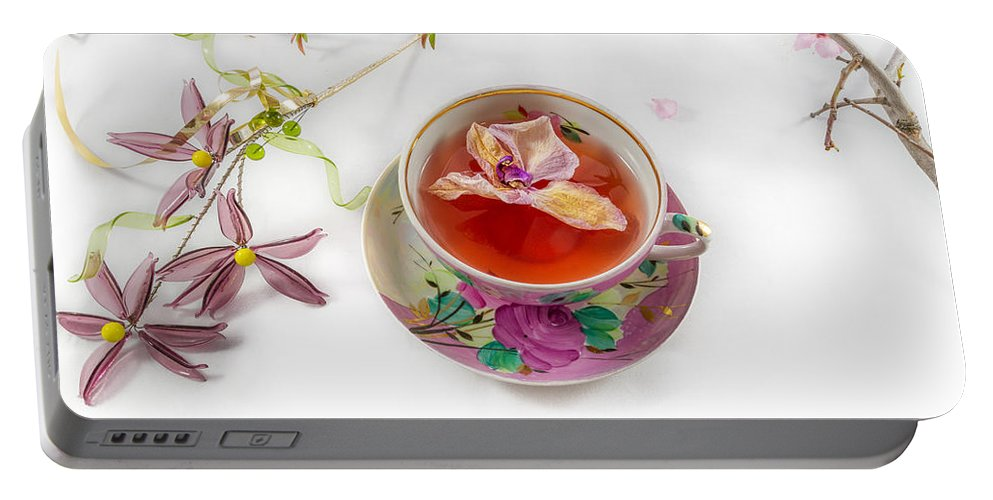 Flower Portable Battery Charger featuring the photograph Romantic Pinks And Violets 2 by Iordanis Pallikaras