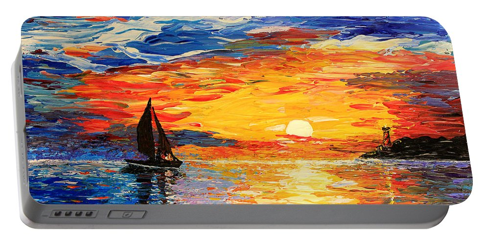 Seascape Portable Battery Charger featuring the painting Romantic Sea Sunset by Georgeta Blanaru