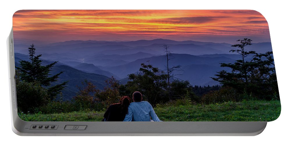 Smokies Portable Battery Charger featuring the photograph Romantic Smoky Mountain Sunset by Eric Albright