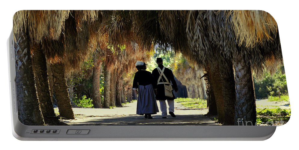Fine Art Photography Portable Battery Charger featuring the photograph Romantic Walk 1870 by David Lee Thompson