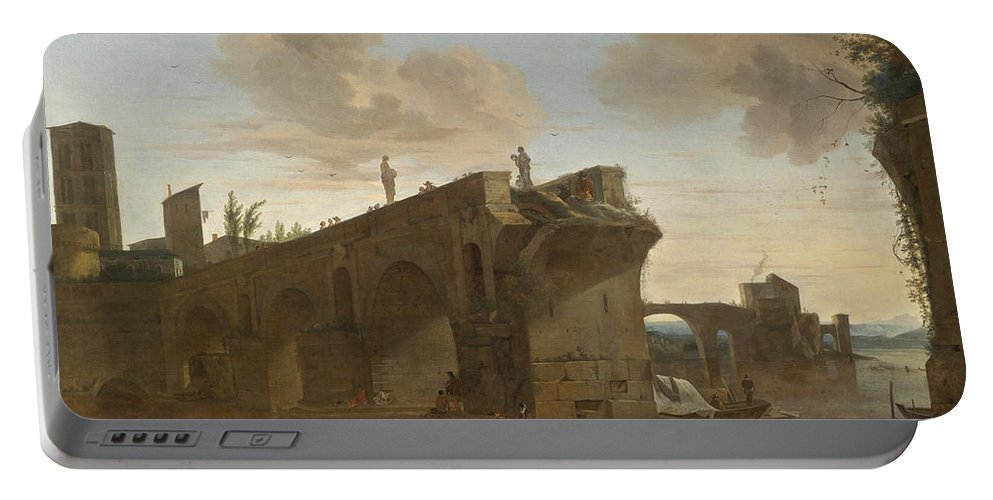 Jan Asselijn Portable Battery Charger featuring the painting Rome. A View Of The Ponte Rotto by Jan Asselijn