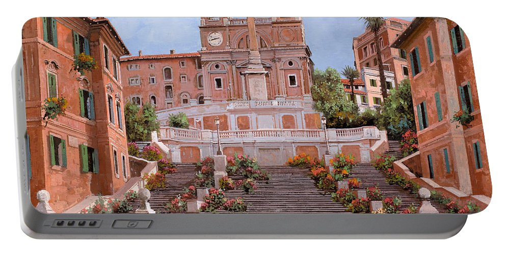 Rome Portable Battery Charger featuring the painting Rome-piazza Di Spagna by Guido Borelli