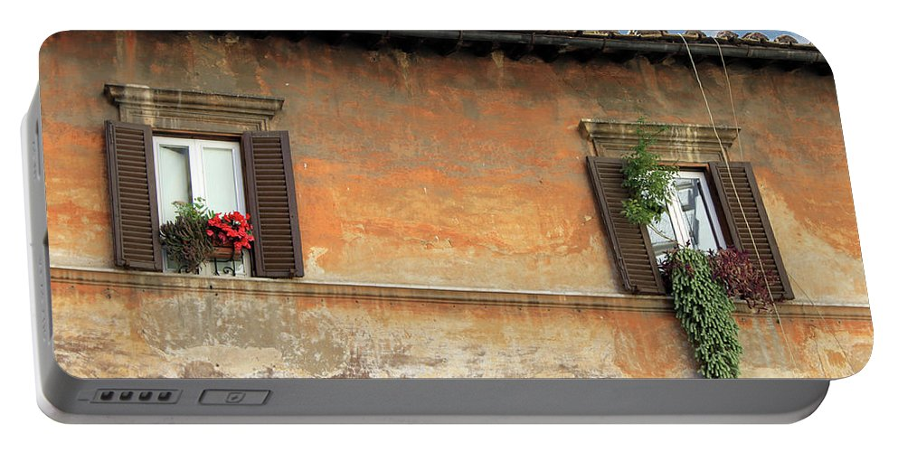 Window Portable Battery Charger featuring the photograph Rome Windows by Munir Alawi