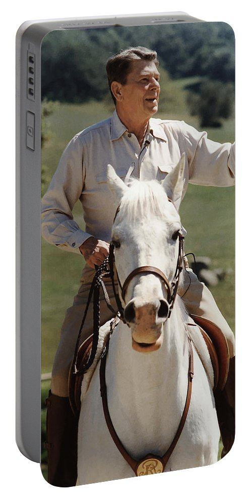 Ronald Reagan Portable Battery Charger featuring the photograph Ronald Reagan On Horseback by War Is Hell Store