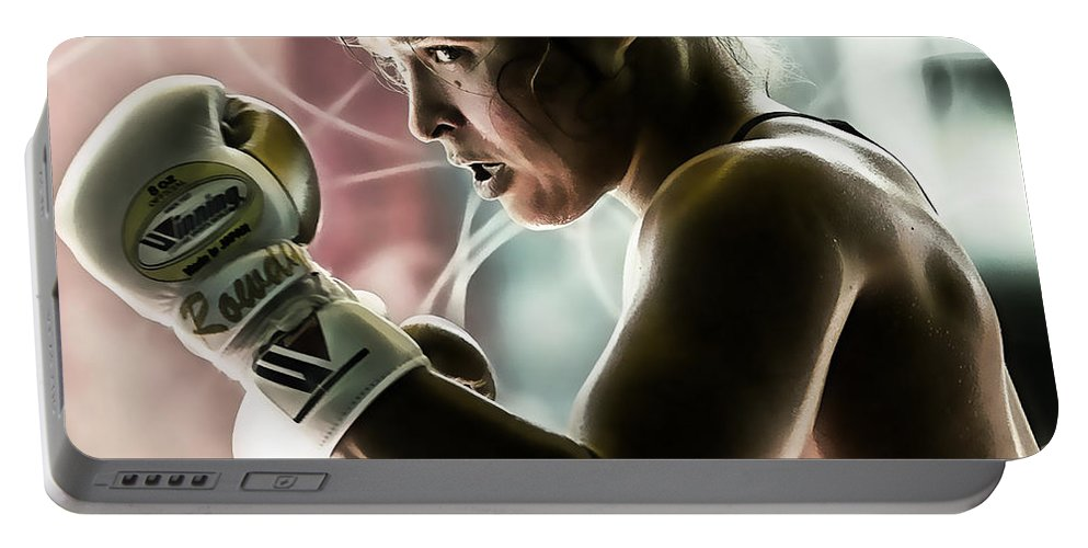 Ronda Rousey Portable Battery Charger featuring the mixed media Ronda Rousey Mma by Marvin Blaine