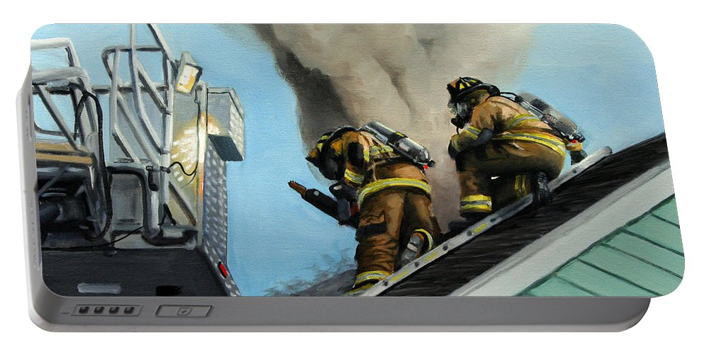 Firefighters Portable Battery Charger featuring the painting Roof Is Open by Paul Walsh