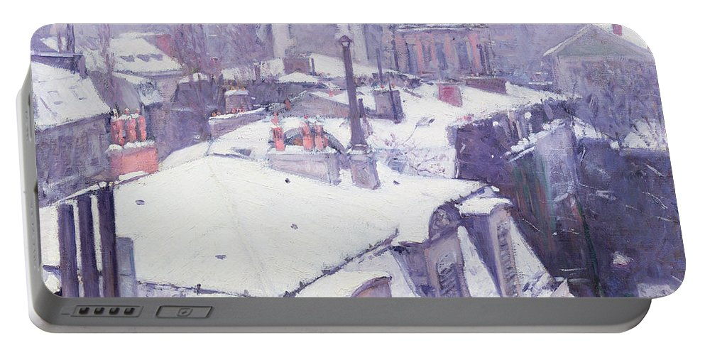 Snow Portable Battery Charger featuring the painting Roofs Under Snow by Gustave Caillebotte