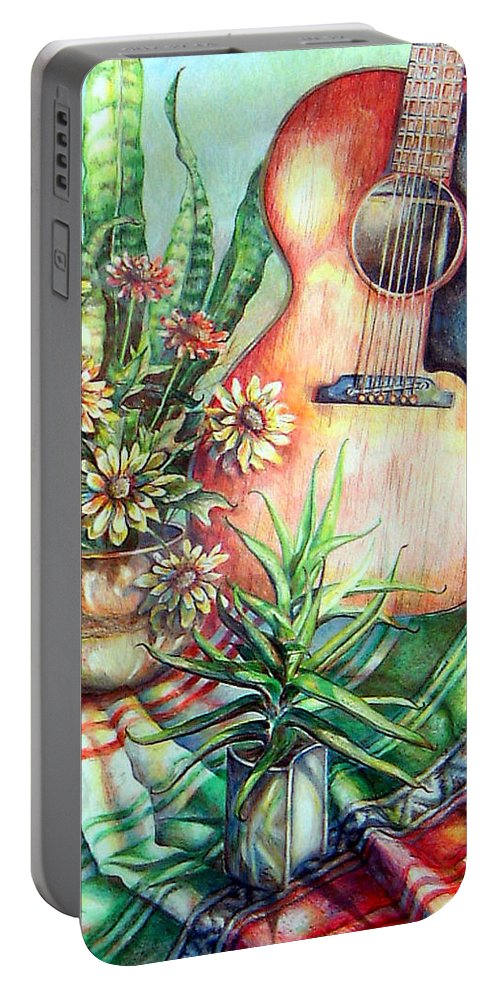 Guitar Portable Battery Charger featuring the drawing Room For Guitar by Linda Shackelford