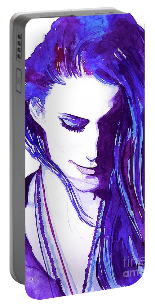 Rooney Portable Battery Charger featuring the painting Rooney Mara by Gallery Hermana