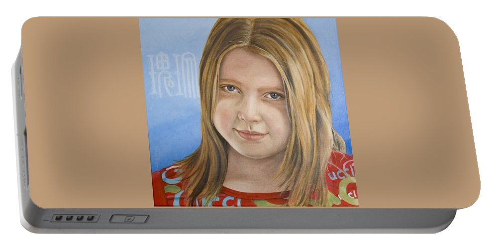 Portrait Portable Battery Charger featuring the painting Roos by Rob De Vries