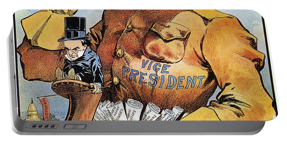 1900 Portable Battery Charger featuring the photograph Roosevelt/mckinley Cartoon by Granger