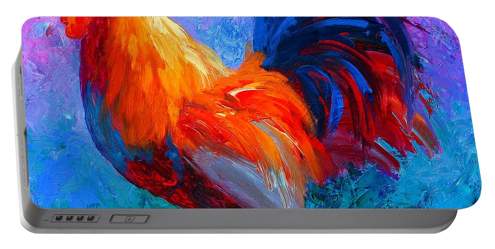 Rooster Portable Battery Charger featuring the painting Rooster Bob by Marion Rose