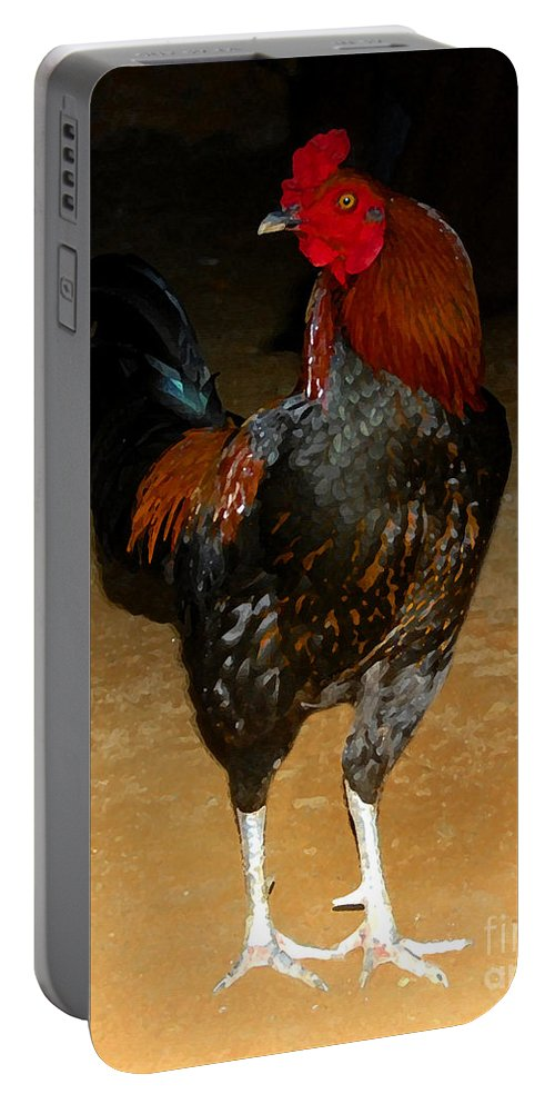 Rooster Portable Battery Charger featuring the painting Rooster by David Lee Thompson