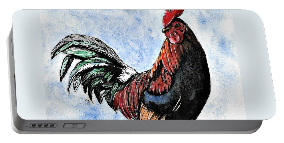 Watercolor Portable Battery Charger featuring the painting Rooster by Tiffany Jones