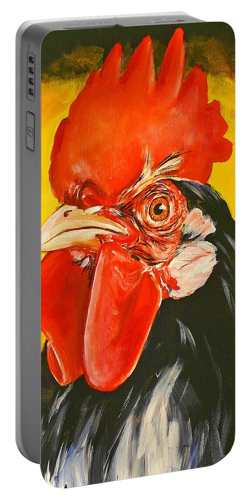 Rooster Portable Battery Charger featuring the painting Rooster by Toni Grote