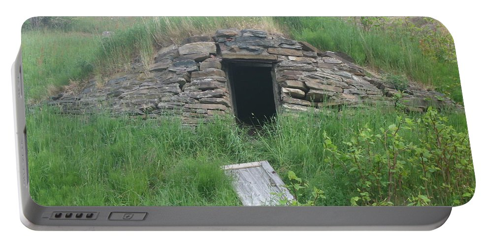 Photograph Cellar Old Green Newfoundland Portable Battery Charger featuring the photograph Root Cellar by Seon-Jeong Kim