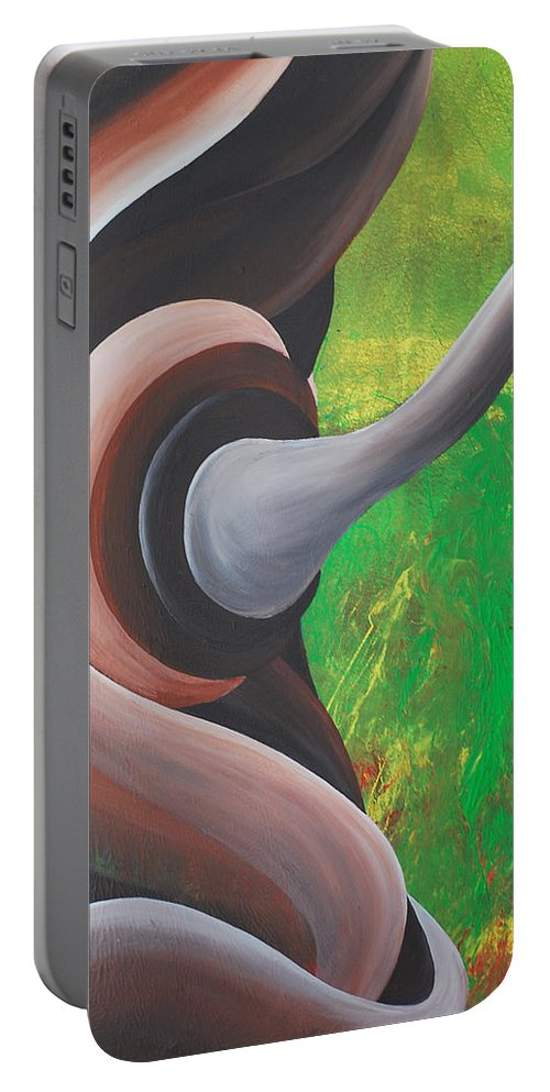 Rooted Portable Battery Charger featuring the painting Rooted Energy Collection by Catt Kyriacou
