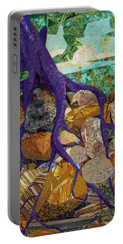 Tree Portable Battery Charger featuring the tapestry - textile Roots Run Deep by Linda Beach