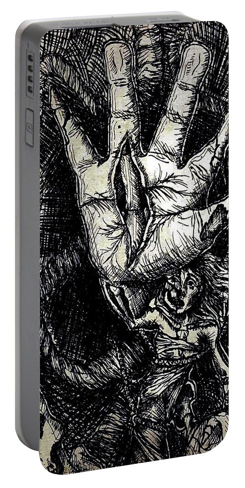 Etching Portable Battery Charger featuring the mixed media Roped In by Hunter Davis