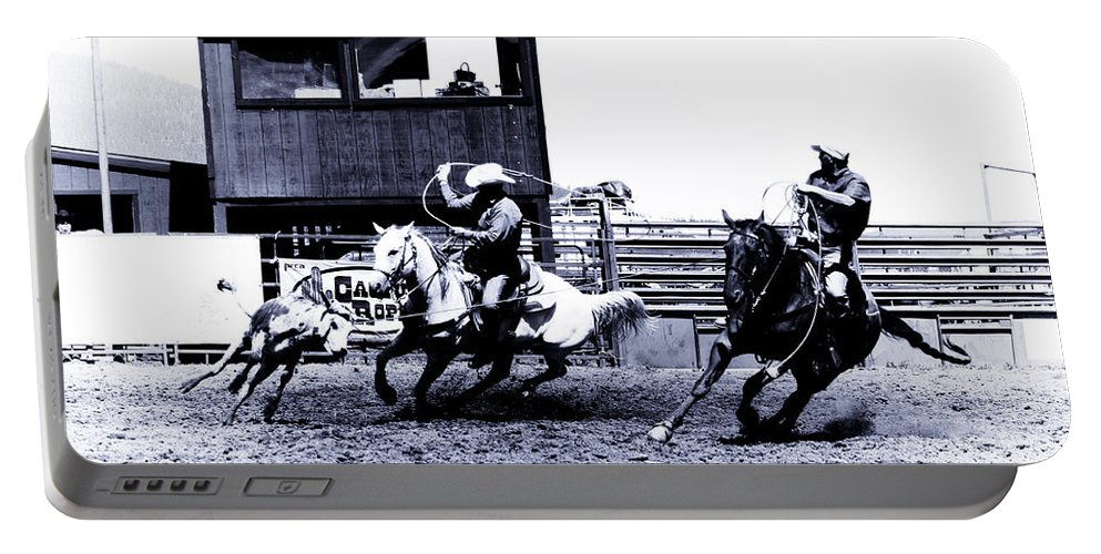Rodeo Portable Battery Charger featuring the photograph Roping 1 by Scott Sawyer
