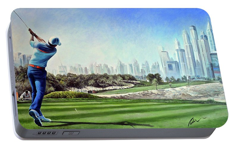 Rory Mcilroy Portable Battery Charger featuring the painting Rory At Ddc Emirates Gc Dubai 8th 2014 by Mark Robinson