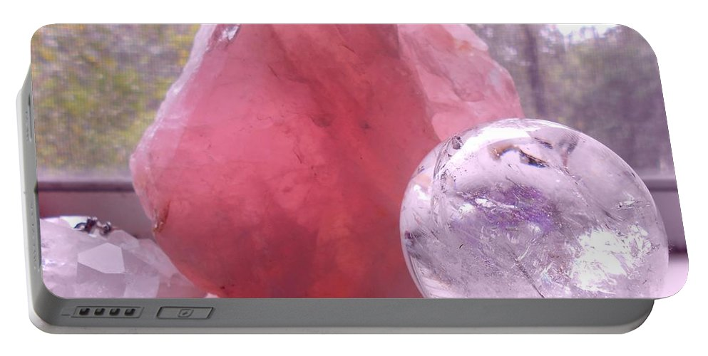 Rose Portable Battery Charger featuring the photograph Rose And Clear Quartz 1 by Duwayne Washington