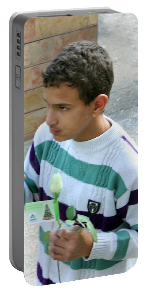 Kid Portable Battery Charger featuring the photograph Rose And Tea by Munir Alawi