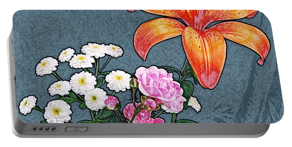 Rose Portable Battery Charger featuring the photograph Rose Baby Breath And Lilly by Michael Peychich