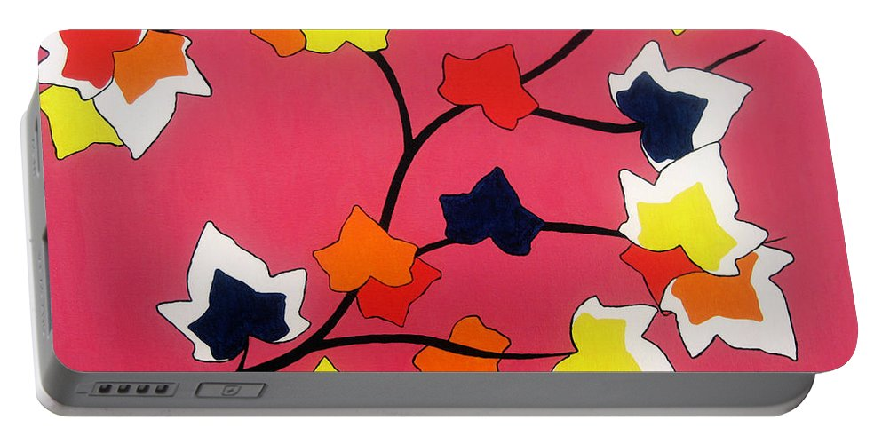 Pink Portable Battery Charger featuring the painting Rose Coloured Glow by Oliver Johnston