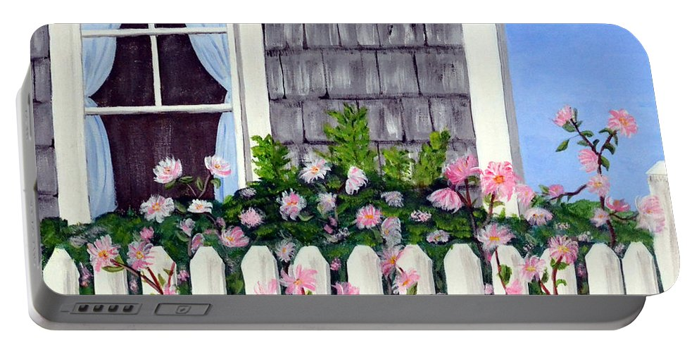 Cottage Portable Battery Charger featuring the painting Rose Cottage by Nancy Sisco