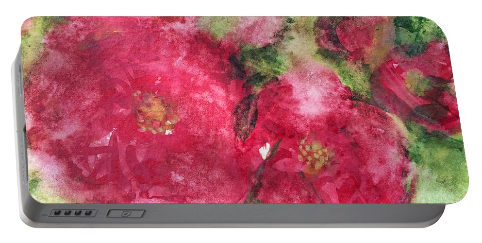 Roses Portable Battery Charger featuring the painting Rose De L Arborete IIi by Aase Birkhaug