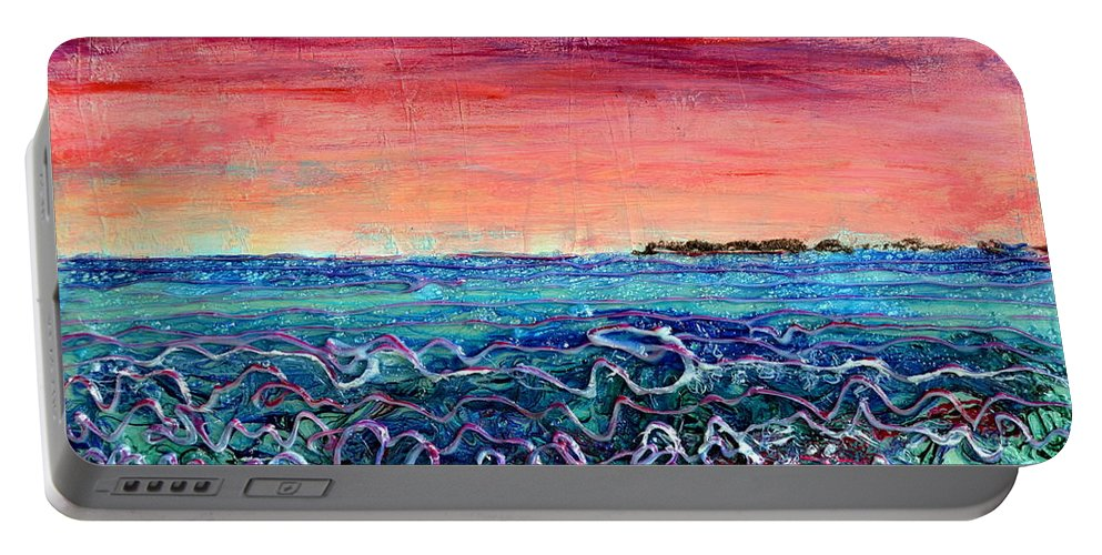 Dusk Portable Battery Charger featuring the painting Rose Dusk Beach by Regina Valluzzi