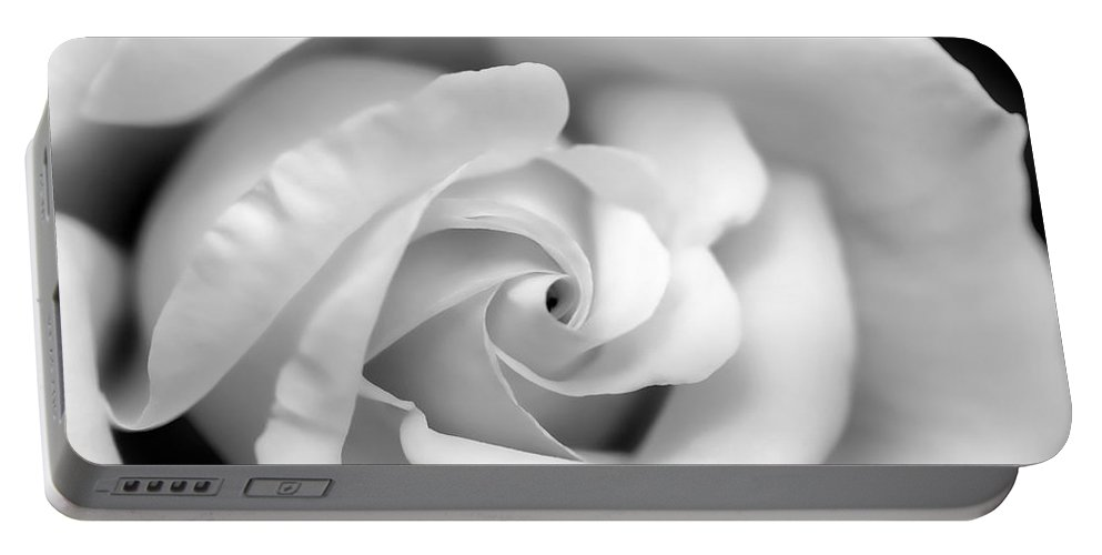 Rose Portable Battery Charger featuring the photograph Rose Flower Black And White Monochrome by Jennie Marie Schell