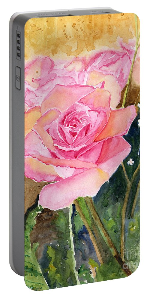 Rose Portable Battery Charger featuring the painting Rose Garden by Melly Terpening
