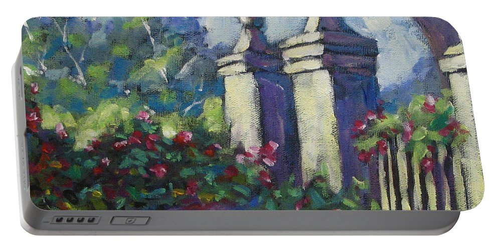 Rose Portable Battery Charger featuring the painting Rose Garden by Richard T Pranke