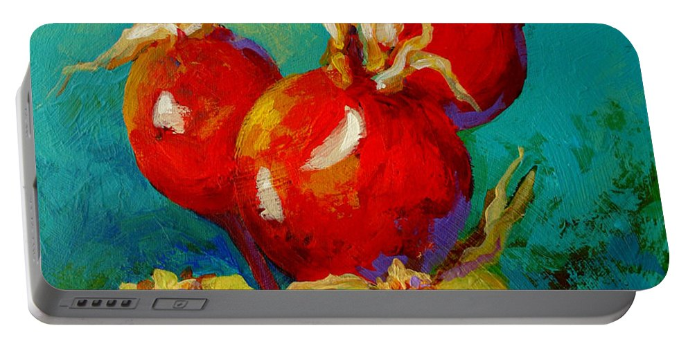 Floral Portable Battery Charger featuring the painting Rose Hips by Marion Rose