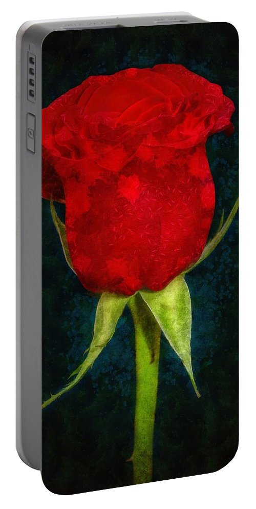 Red Portable Battery Charger featuring the painting Rose - Id 16236-105012-4033 by S Lurk