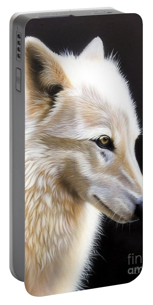 Acrylic Portable Battery Charger featuring the painting Rose 3 by Sandi Baker