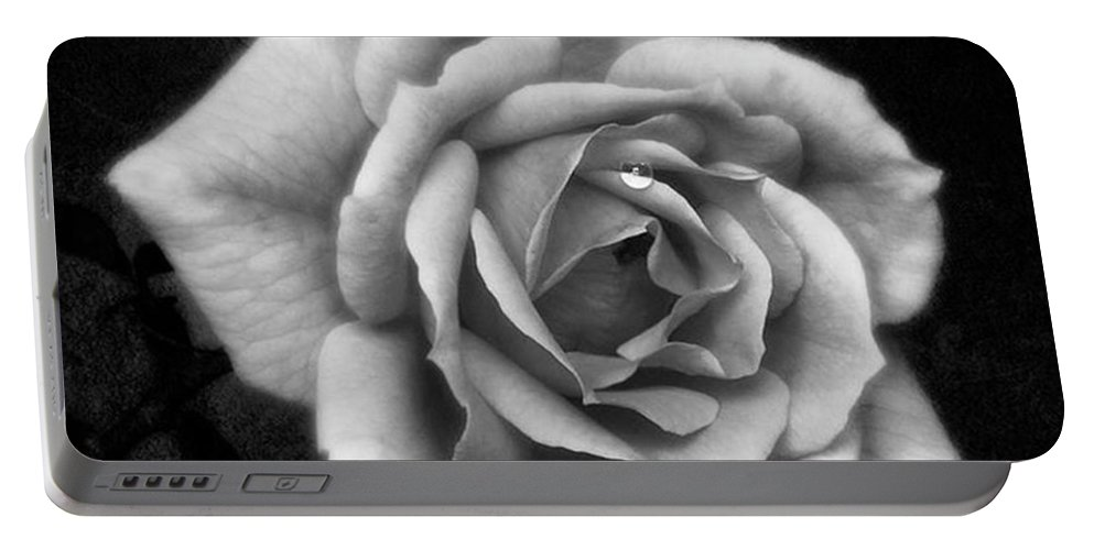Beautiful Portable Battery Charger featuring the photograph Rose In Mono. #flower #flowers by John Edwards