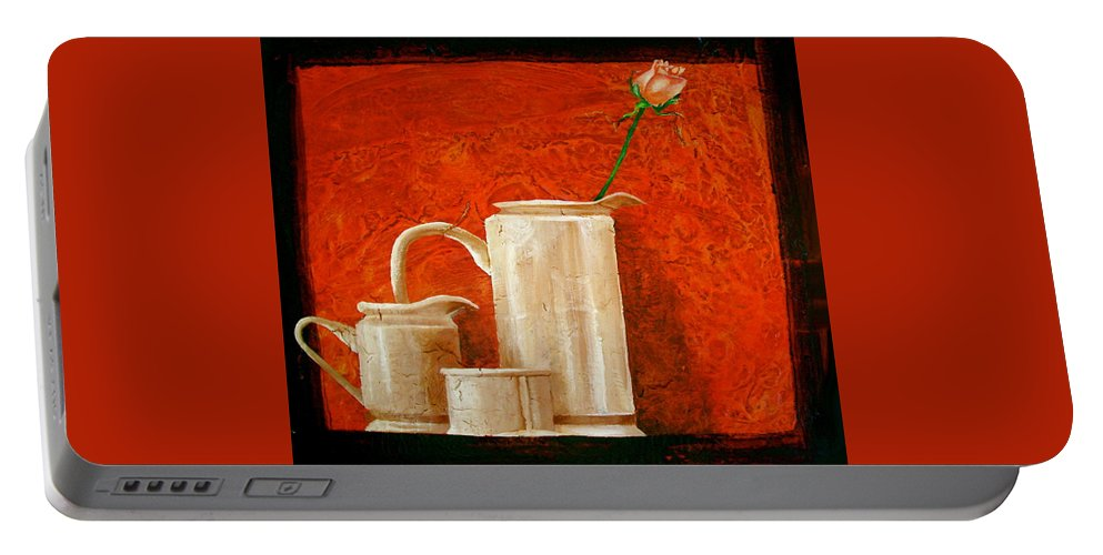 Beautiful Art Portable Battery Charger featuring the painting Rose by Laura Pierre-Louis