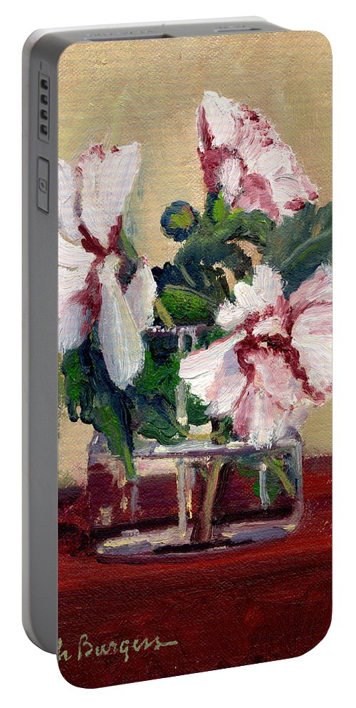 Impressionism Portable Battery Charger featuring the painting Rose Of Sharon by Keith Burgess